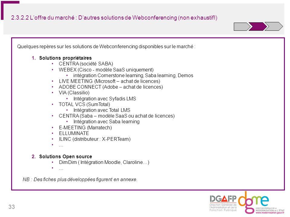 33 2.3.2.2 Loffre du marché : Dautres solutions de Webconferencing (non exhaustif!) Quelques repères sur les solutions de Webconferencing disponibles