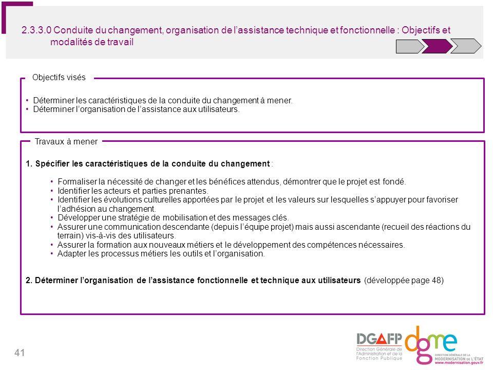 41 2.3.3.0 Conduite du changement, organisation de lassistance technique et fonctionnelle : Objectifs et modalités de travail Déterminer les caractéri