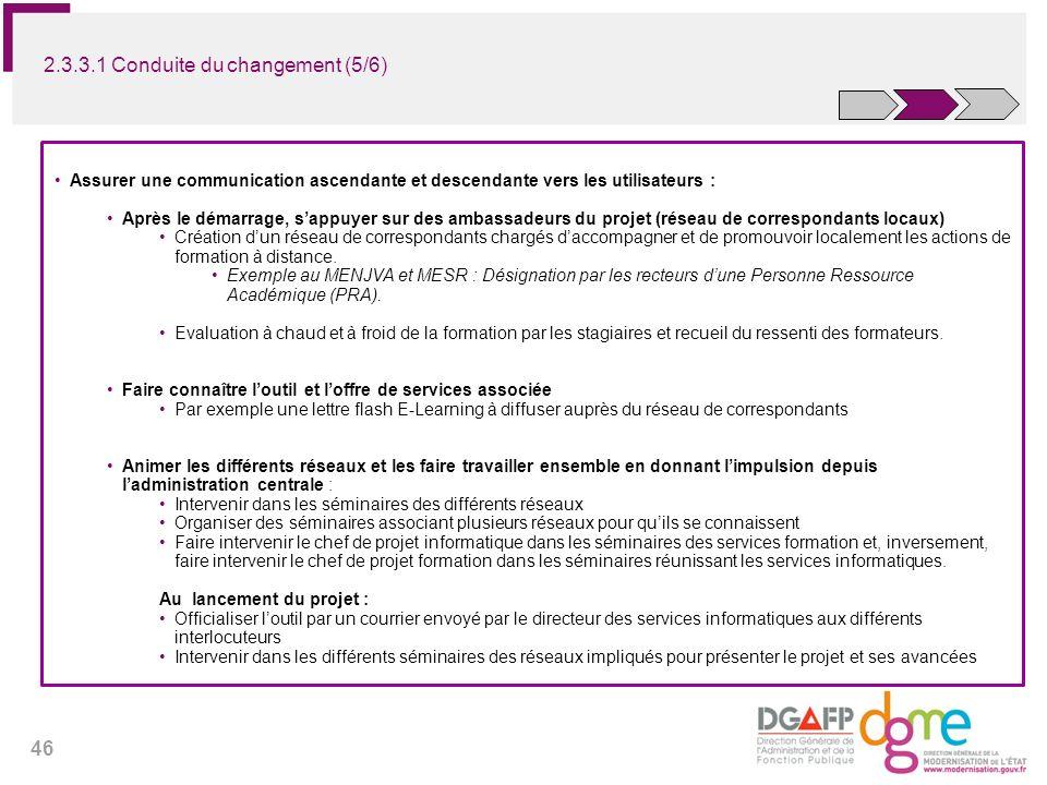 46 Assurer une communication ascendante et descendante vers les utilisateurs : Après le démarrage, sappuyer sur des ambassadeurs du projet (réseau de