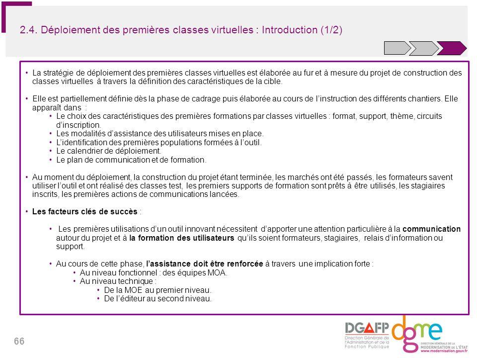 66 2.4. Déploiement des premières classes virtuelles : Introduction (1/2) La stratégie de déploiement des premières classes virtuelles est élaborée au