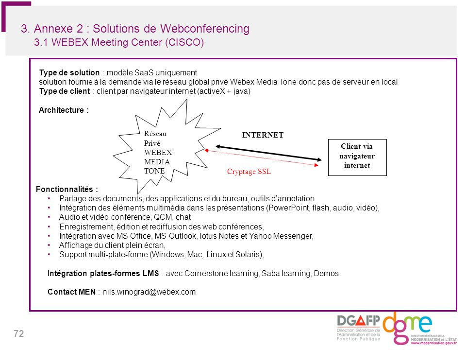 72 3. Annexe 2 : Solutions de Webconferencing 3.1 WEBEX Meeting Center (CISCO) Type de solution : modèle SaaS uniquement solution fournie à la demande