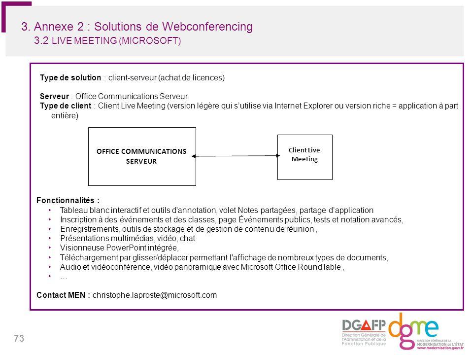73 3. Annexe 2 : Solutions de Webconferencing 3.2 LIVE MEETING (MICROSOFT) Type de solution : client-serveur (achat de licences) Serveur : Office Comm
