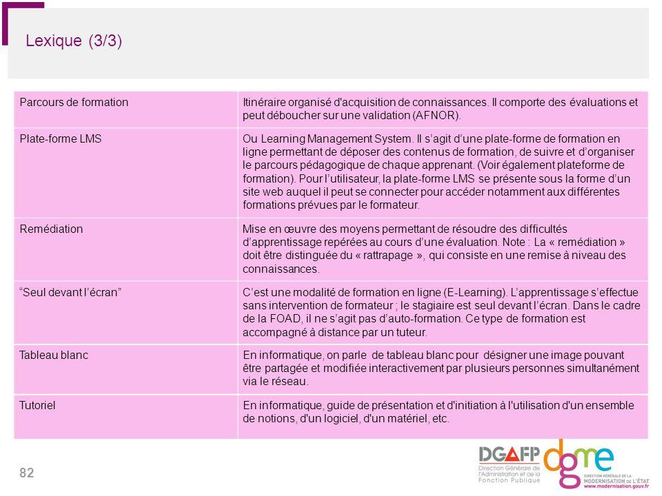 82 Lexique (3/3) Parcours de formationItinéraire organisé d'acquisition de connaissances. Il comporte des évaluations et peut déboucher sur une valida