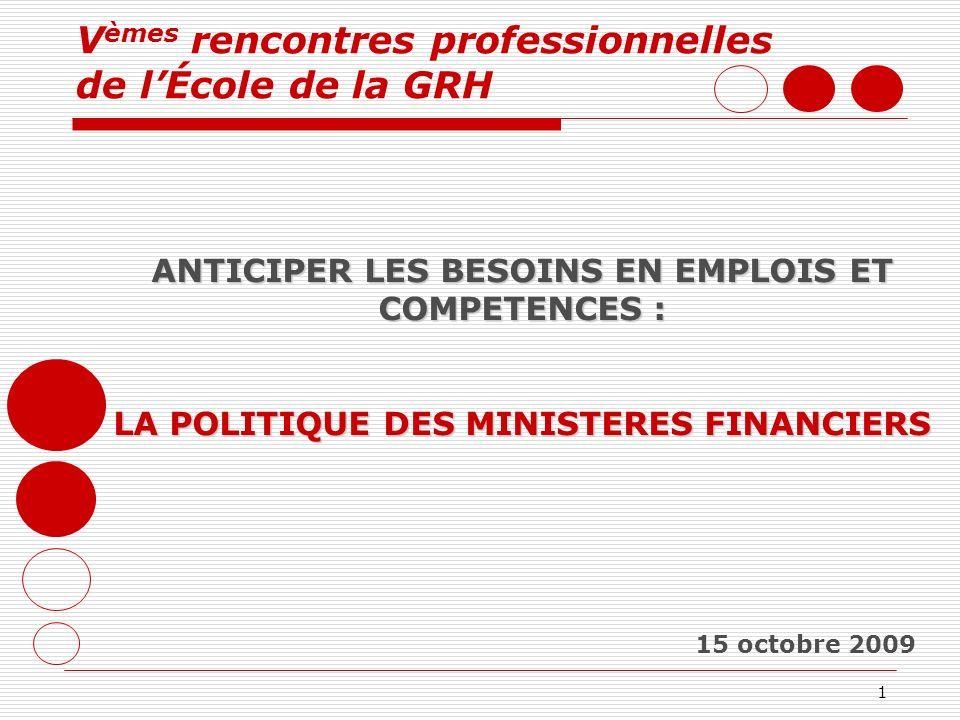 1 15 octobre 2009 ANTICIPER LES BESOINS EN EMPLOIS ET COMPETENCES : LA POLITIQUE DES MINISTERES FINANCIERS V èmes rencontres professionnelles de lÉcol