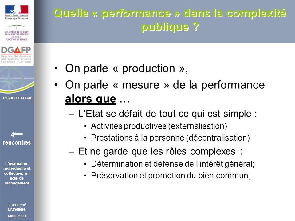 Jean-René Brunetière Mars 2009 4 èmes rencontres Lévaluation individuelle et collective, un acte de management LECOLE DE LA GRH Quelle « performance » dans la complexité publique .