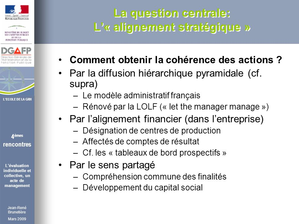Jean-René Brunetière Mars 2009 4 èmes rencontres Lévaluation individuelle et collective, un acte de management LECOLE DE LA GRH La question centrale: L« alignement stratégique » Comment obtenir la cohérence des actions .