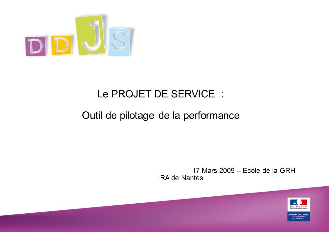 17 Mars 2009 – Ecole de la GRH IRA de Nantes Le PROJET DE SERVICE : Outil de pilotage de la performance