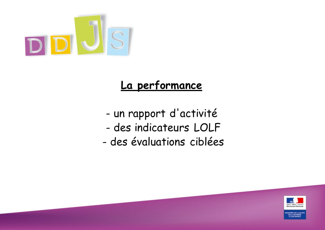 La performance - un rapport d activité - des indicateurs LOLF - des évaluations ciblées