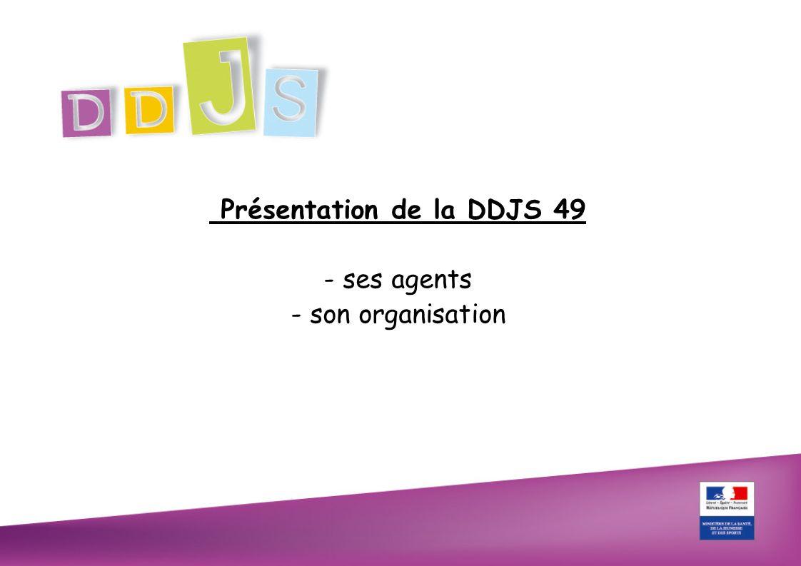 PRESENTATION DE LA DDJS 49 les ressources humaines 29 Agents 3 inspecteurs (catégorie A) 14 Conseillers techniques et pédagogiques (catégorie A) 12 personnels administratifs issus de l Education Nationale et Conseil Général ( 1 catégorie A, 3 catégorie B et 8 catégorie C) 62% des personnels sont des « A »