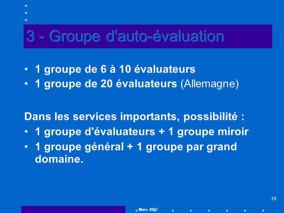Mars 2003 19 Dans les services importants, possibilité : 1 groupe d évaluateurs + 1 groupe miroir 1 groupe général + 1 groupe par grand domaine.