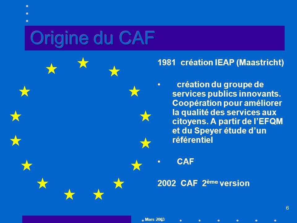 Mars 2003 6 1981 création IEAP (Maastricht) création du groupe de services publics innovants.