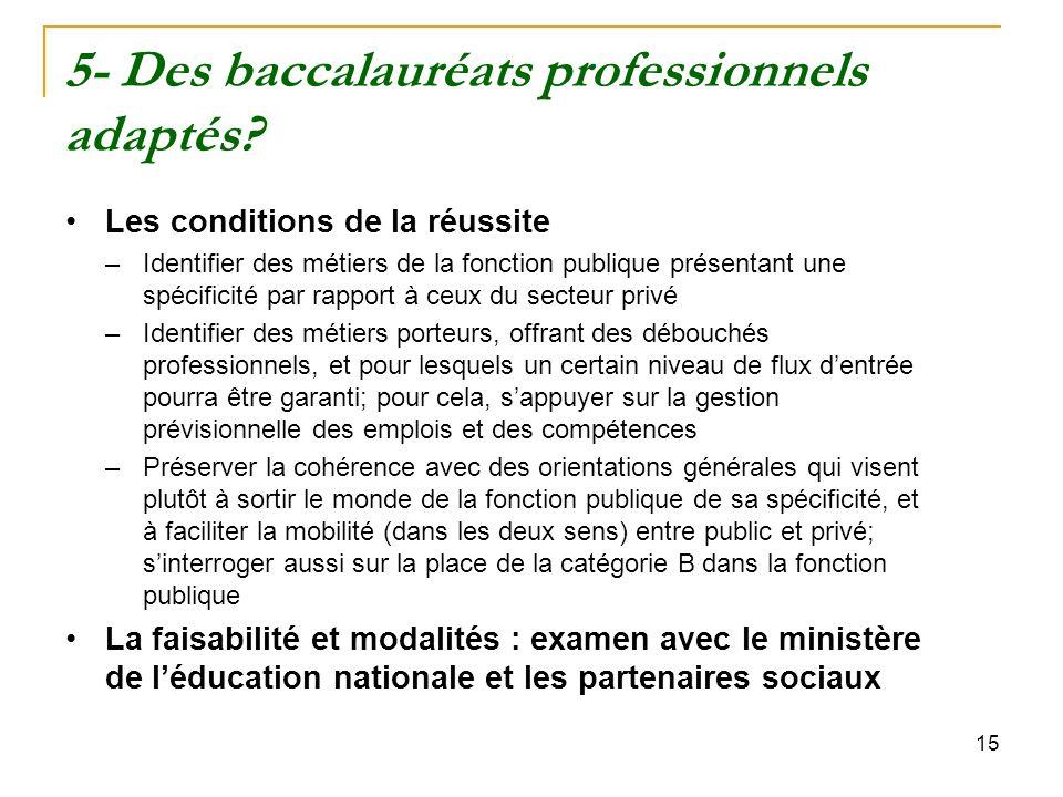 15 5- Des baccalauréats professionnels adaptés.
