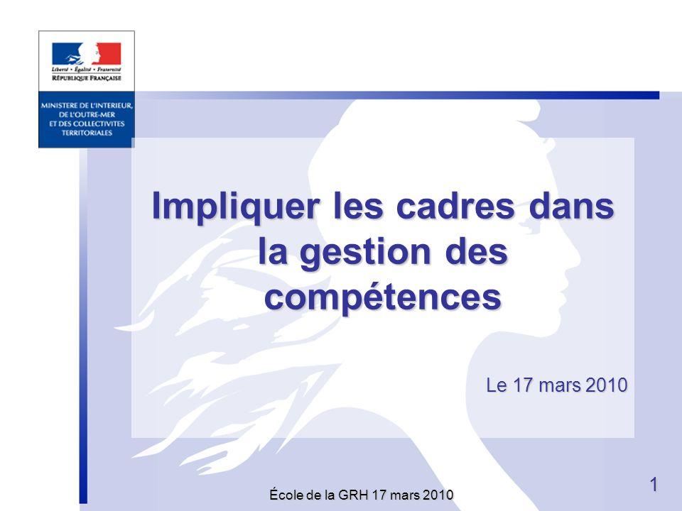 École de la GRH 17 mars 2010 11 Impliquer les cadres dans la gestion des compétences Le 17 mars 2010