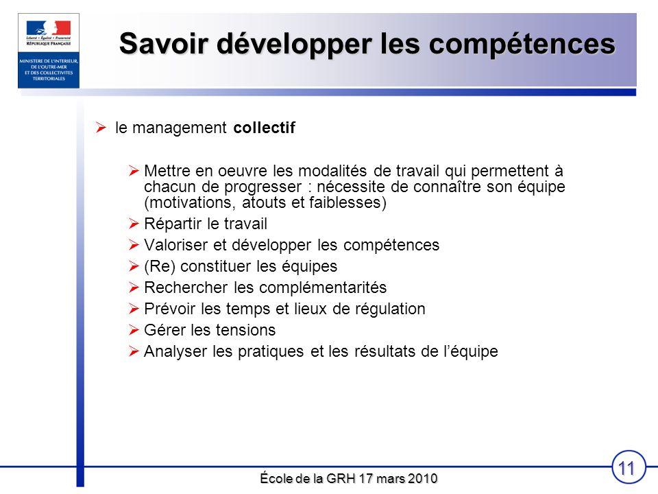École de la GRH 17 mars 2010 11 Savoir développer les compétences le management collectif Mettre en oeuvre les modalités de travail qui permettent à c