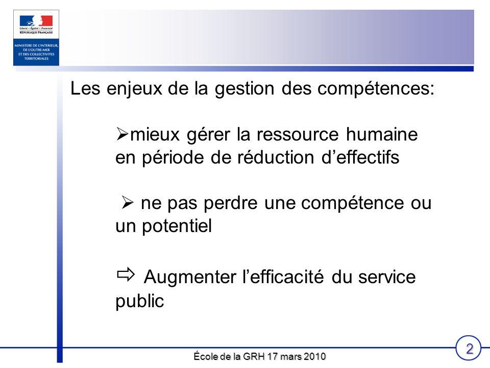 École de la GRH 17 mars 2010 2 Les enjeux de la gestion des compétences: mieux gérer la ressource humaine en période de réduction deffectifs ne pas pe