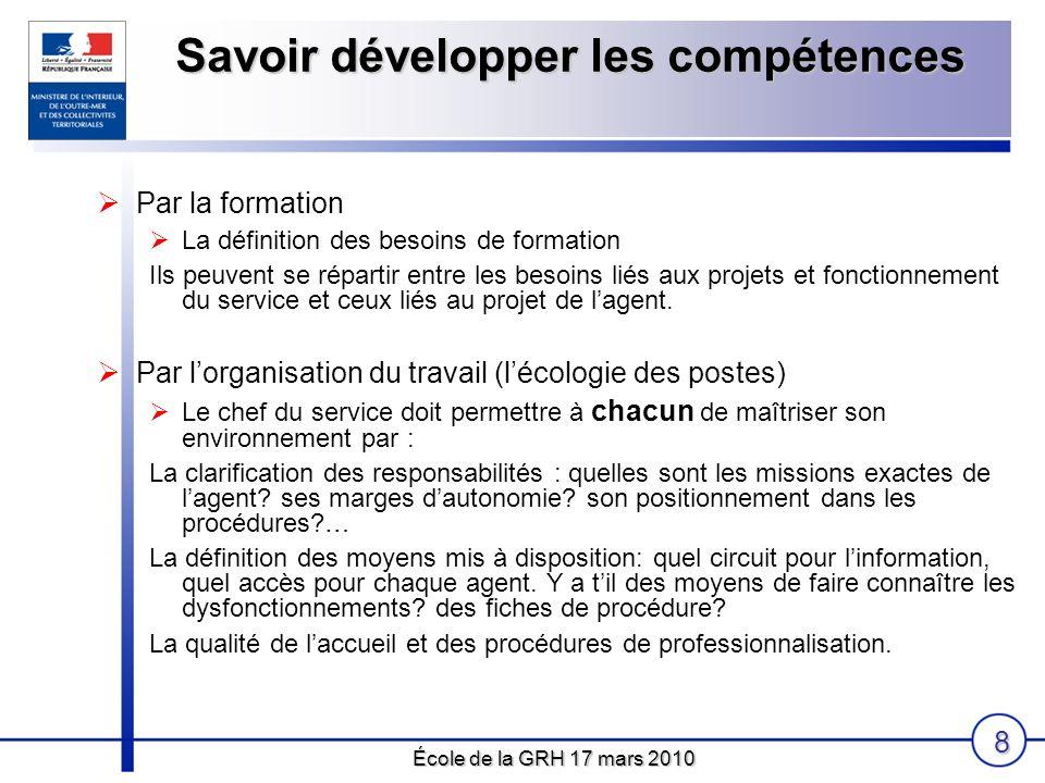 École de la GRH 17 mars 2010 8 Par la formation La définition des besoins de formation Ils peuvent se répartir entre les besoins liés aux projets et f