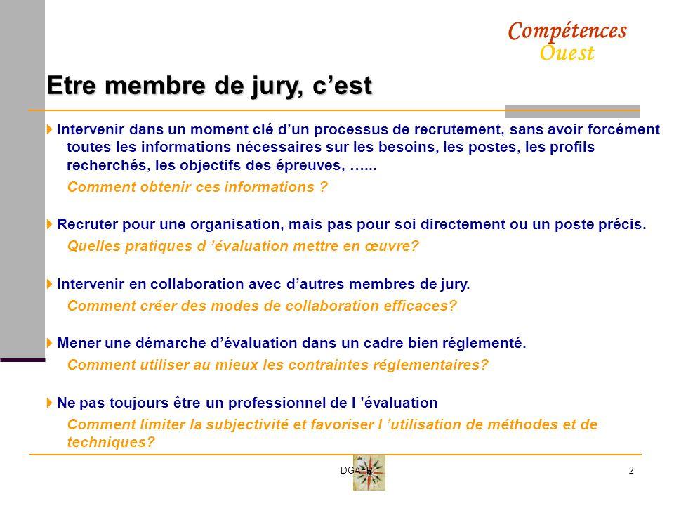 Compétences Ouest DGAFP3 Le processus de recrutement Communication informative et sélective Sélection des candidats Définition des besoins Evaluation Décision Formation Intégration Validation Titularisation Le jury Quest ce qu on recherche.
