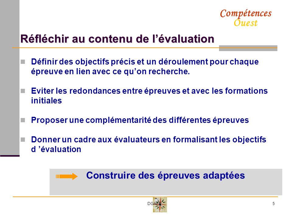 Compétences Ouest DGAFP5 Réfléchir au contenu de lévaluation Définir des objectifs précis et un déroulement pour chaque épreuve en lien avec ce quon recherche.