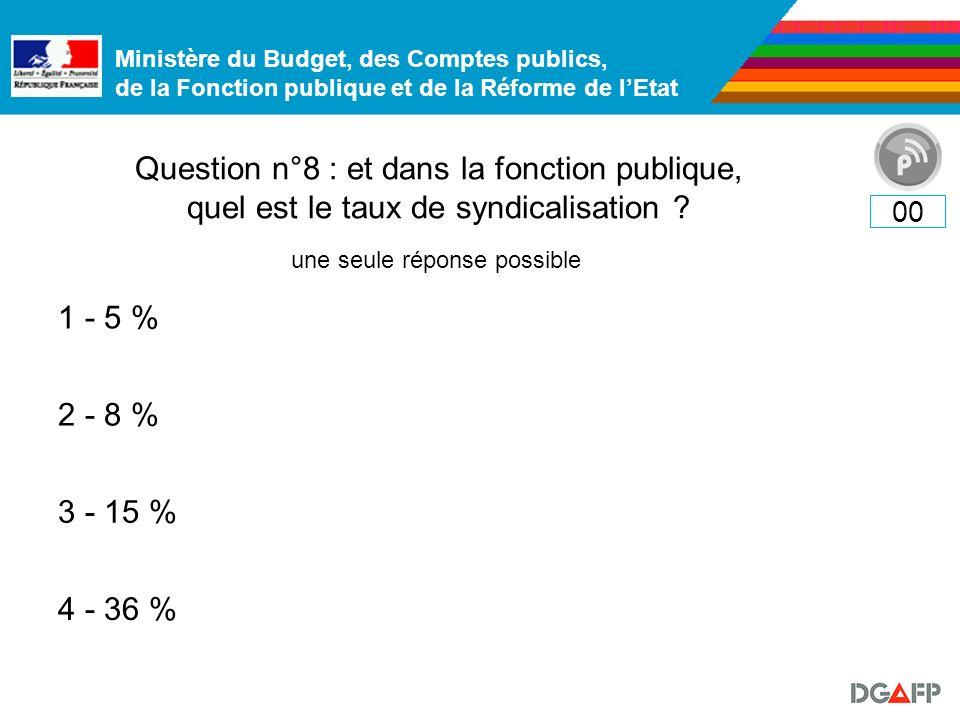 Ministère du Budget, des Comptes publics, de la Fonction publique et de la Réforme de lEtat Question n°8 : et dans la fonction publique, quel est le taux de syndicalisation .