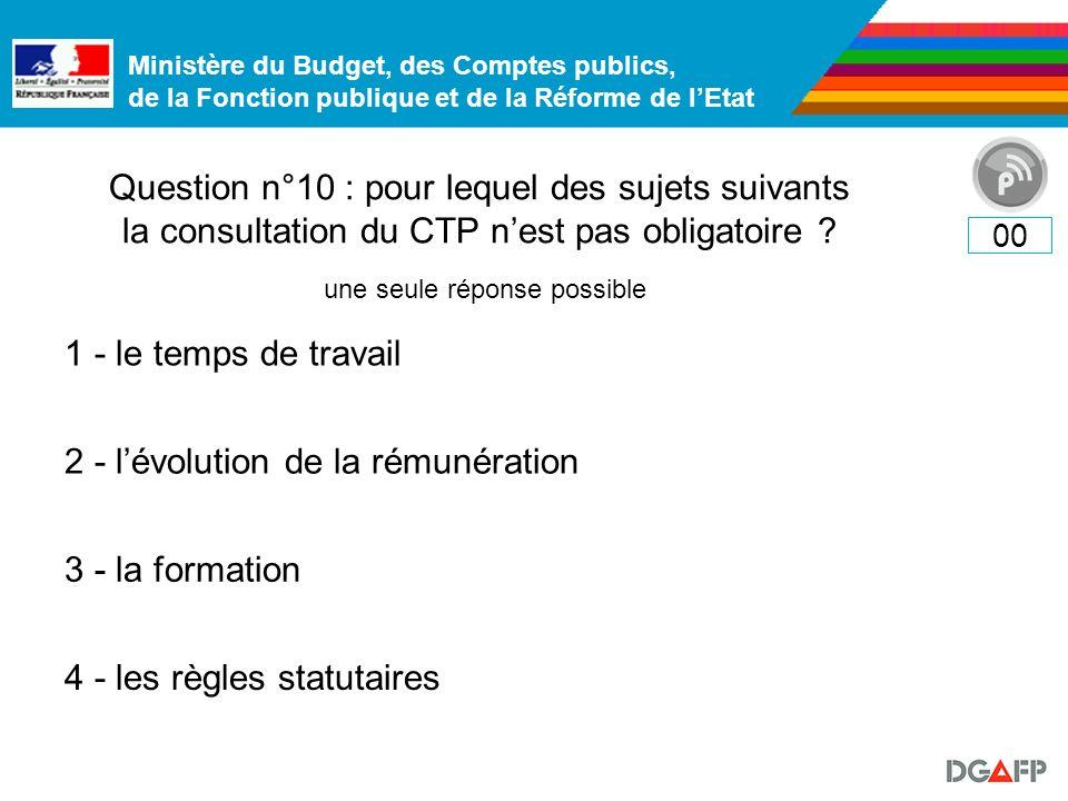 Ministère du Budget, des Comptes publics, de la Fonction publique et de la Réforme de lEtat Question n°10 : pour lequel des sujets suivants la consultation du CTP nest pas obligatoire .