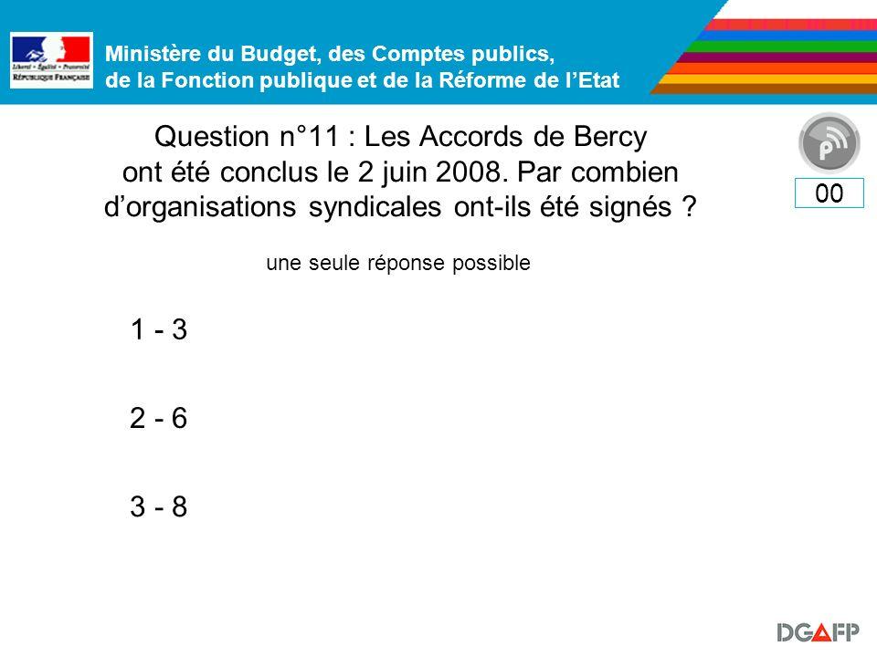 Ministère du Budget, des Comptes publics, de la Fonction publique et de la Réforme de lEtat Question n°11 : Les Accords de Bercy ont été conclus le 2