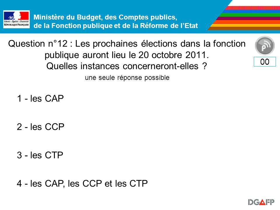 Ministère du Budget, des Comptes publics, de la Fonction publique et de la Réforme de lEtat Question n°12 : Les prochaines élections dans la fonction publique auront lieu le 20 octobre 2011.