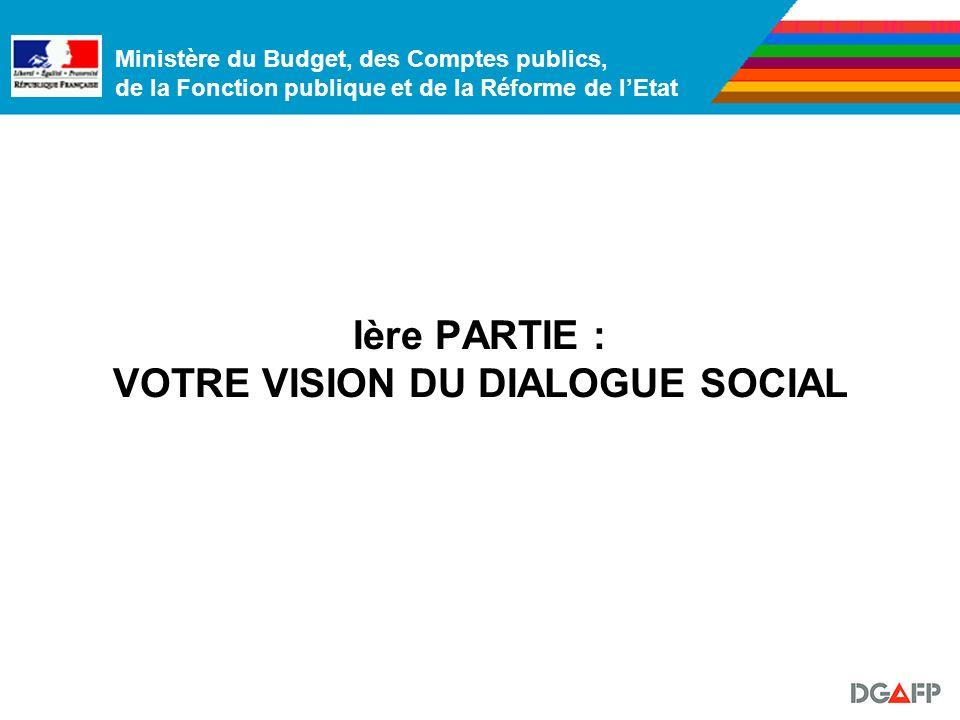 Ministère du Budget, des Comptes publics, de la Fonction publique et de la Réforme de lEtat Ière PARTIE : VOTRE VISION DU DIALOGUE SOCIAL