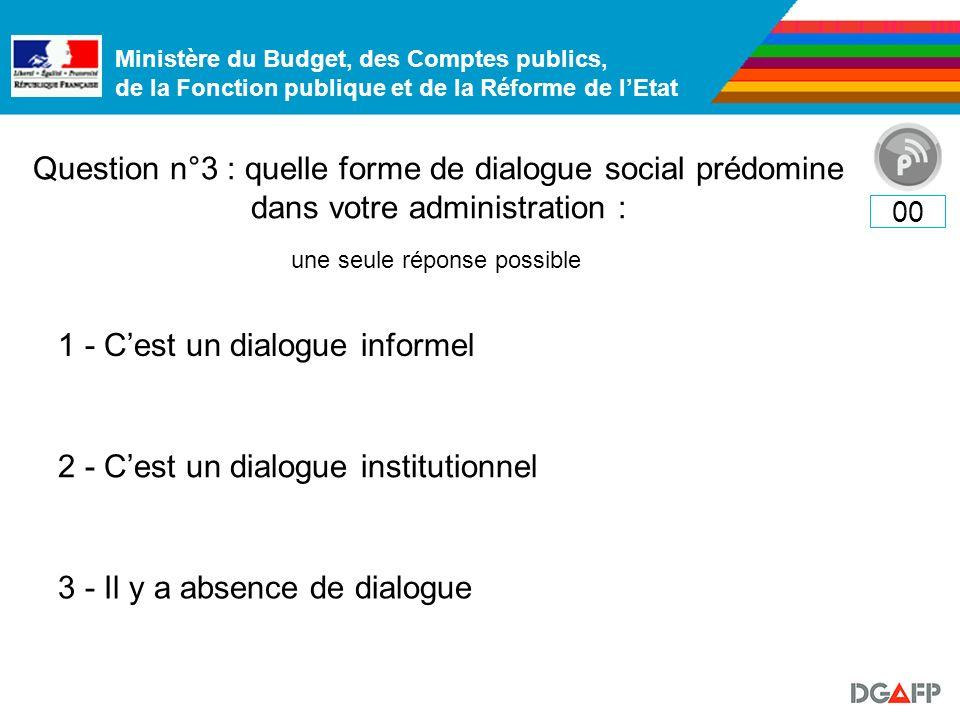 Ministère du Budget, des Comptes publics, de la Fonction publique et de la Réforme de lEtat Question n°3 : quelle forme de dialogue social prédomine d