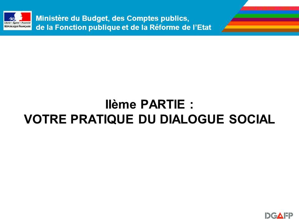 Ministère du Budget, des Comptes publics, de la Fonction publique et de la Réforme de lEtat IIème PARTIE : VOTRE PRATIQUE DU DIALOGUE SOCIAL