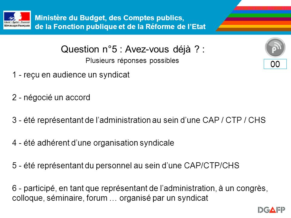 Ministère du Budget, des Comptes publics, de la Fonction publique et de la Réforme de lEtat Question n°5 : Avez-vous déjà ? : 00 Plusieurs réponses po