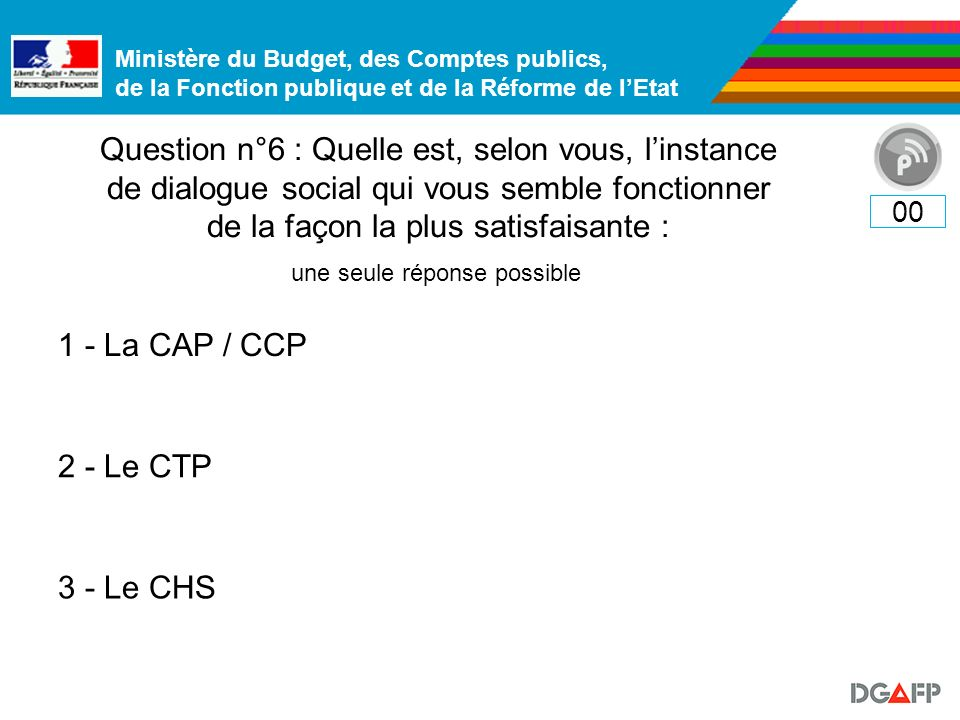Ministère du Budget, des Comptes publics, de la Fonction publique et de la Réforme de lEtat Question n°6 : Quelle est, selon vous, linstance de dialogue social qui vous semble fonctionner de la façon la plus satisfaisante : 00 1 - La CAP / CCP 2 - Le CTP 3 - Le CHS une seule réponse possible