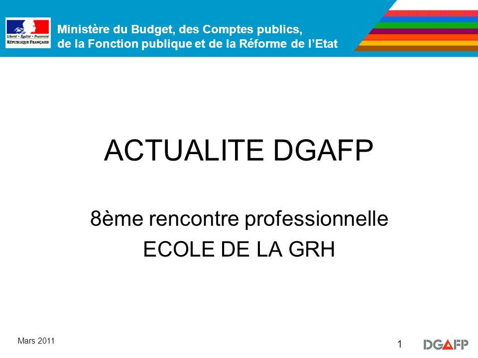 Ministère du Budget, des Comptes publics, de la Fonction publique et de la Réforme de lEtat 1 Mars 2011 ACTUALITE DGAFP 8ème rencontre professionnelle ECOLE DE LA GRH