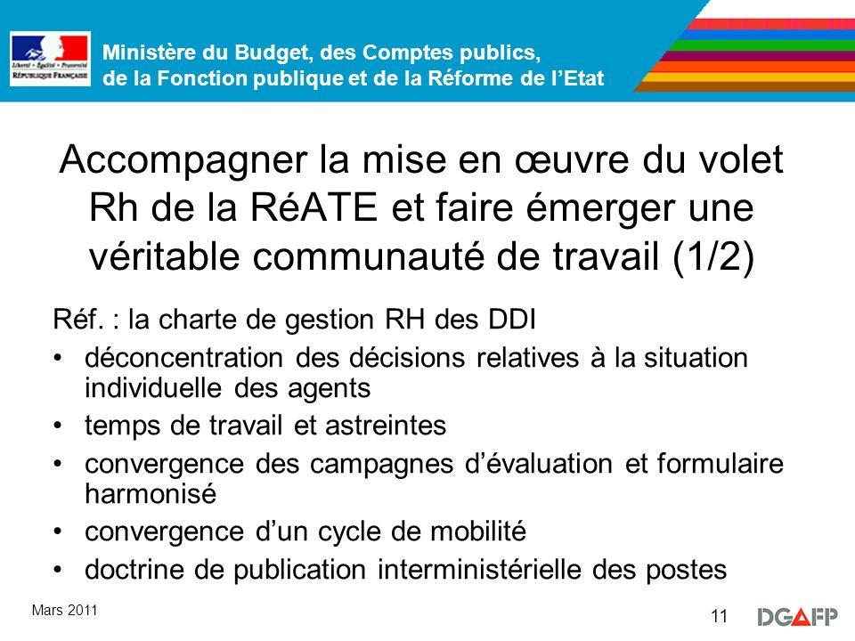 Ministère du Budget, des Comptes publics, de la Fonction publique et de la Réforme de lEtat 11 Mars 2011 Accompagner la mise en œuvre du volet Rh de la RéATE et faire émerger une véritable communauté de travail (1/2) Réf.