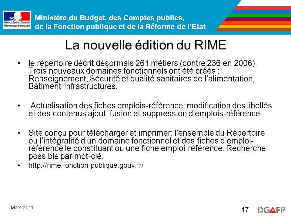 Ministère du Budget, des Comptes publics, de la Fonction publique et de la Réforme de lEtat 17 Mars 2011 La nouvelle édition du RIME le répertoire décrit désormais 261 métiers (contre 236 en 2006).