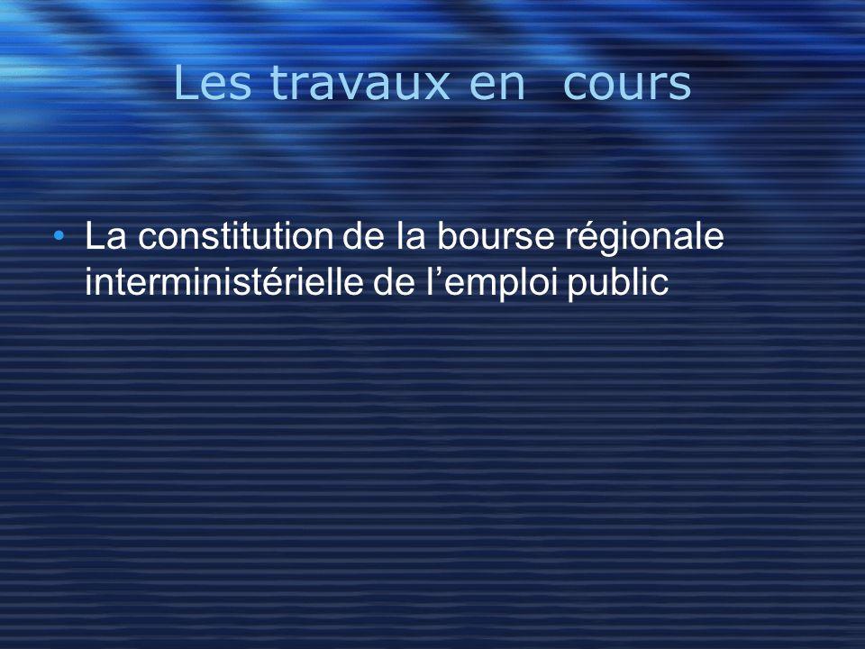 Les travaux en cours La constitution de la bourse régionale interministérielle de lemploi public