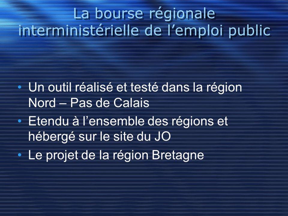 La bourse régionale interministérielle de lemploi public Un outil réalisé et testé dans la région Nord – Pas de Calais Etendu à lensemble des régions