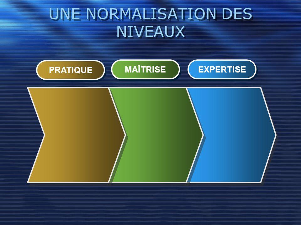 UNE NORMALISATION DES NIVEAUX PRATIQUE MAÎTRISE EXPERTISE