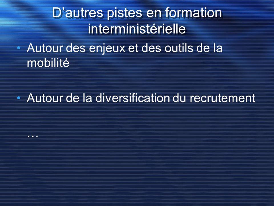 Dautres pistes en formation interministérielle Autour des enjeux et des outils de la mobilité Autour de la diversification du recrutement …