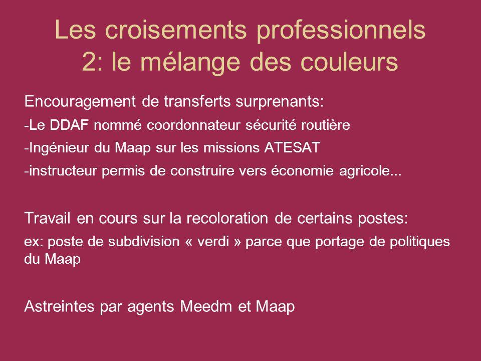 Les croisements professionnels 2: le mélange des couleurs Encouragement de transferts surprenants: -Le DDAF nommé coordonnateur sécurité routière -Ingénieur du Maap sur les missions ATESAT -instructeur permis de construire vers économie agricole...