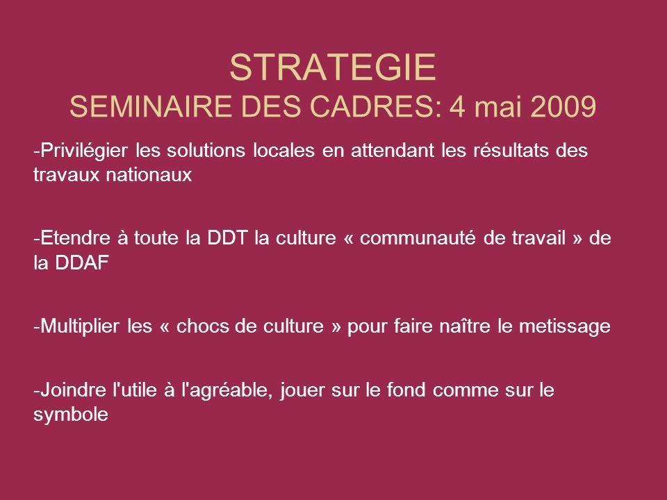 STRATEGIE SEMINAIRE DES CADRES: 4 mai 2009 -Privilégier les solutions locales en attendant les résultats des travaux nationaux -Etendre à toute la DDT la culture « communauté de travail » de la DDAF -Multiplier les « chocs de culture » pour faire naître le metissage -Joindre l utile à l agréable, jouer sur le fond comme sur le symbole