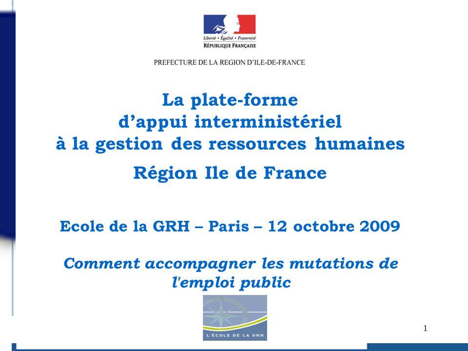 2 La réforme de ladministration territoriale de lEtat (REATE) dans le cadre de la RGPP : mise en œuvre au 30/06/2010 Organisation régionale de droit commun: mise en œuvre au 30/06/2010 ( circulaire du 17 mars 2009) Organisation départementale : mise en œuvre au 31/12/2010 (avancé au 30/06/2010) De droit commun: circulaires des 7/07/2008 et 31/12/2008 (Ile de France : circulaire du 27/07/2009) La réforme des collectivités territoriales (2014) Le grand Paris Le plan de relance Le plan stratégique régional à 3 ans Le contexte : la réforme de l Etat en IDF