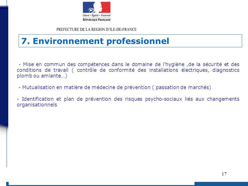 17 - Mise en commun des compétences dans le domaine de lhygiène,de la sécurité et des conditions de travail ( contrôle de conformité des installations