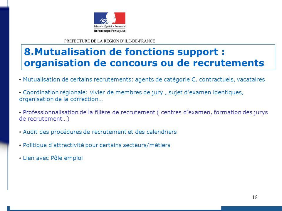 18 Mutualisation de certains recrutements: agents de catégorie C, contractuels, vacataires Coordination régionale: vivier de membres de jury, sujet de
