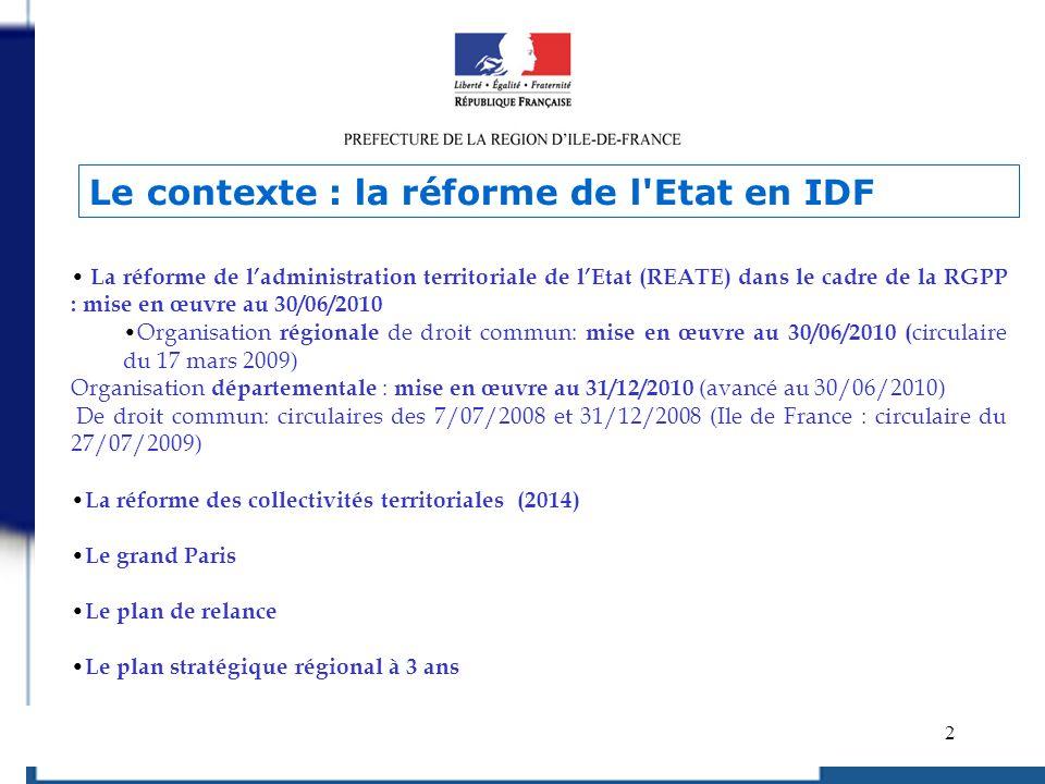2 La réforme de ladministration territoriale de lEtat (REATE) dans le cadre de la RGPP : mise en œuvre au 30/06/2010 Organisation régionale de droit c