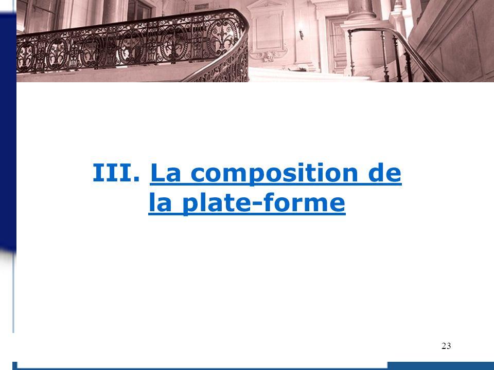 23 III. La composition de la plate-forme
