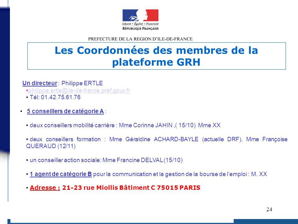 24 Un directeur : Philippe ERTLE philippe.ertle@ile-de-france.pref.gouv.fr Tél: 01.42.75.61.76 5 conseillers de catégorie A : deux conseillers mobilit
