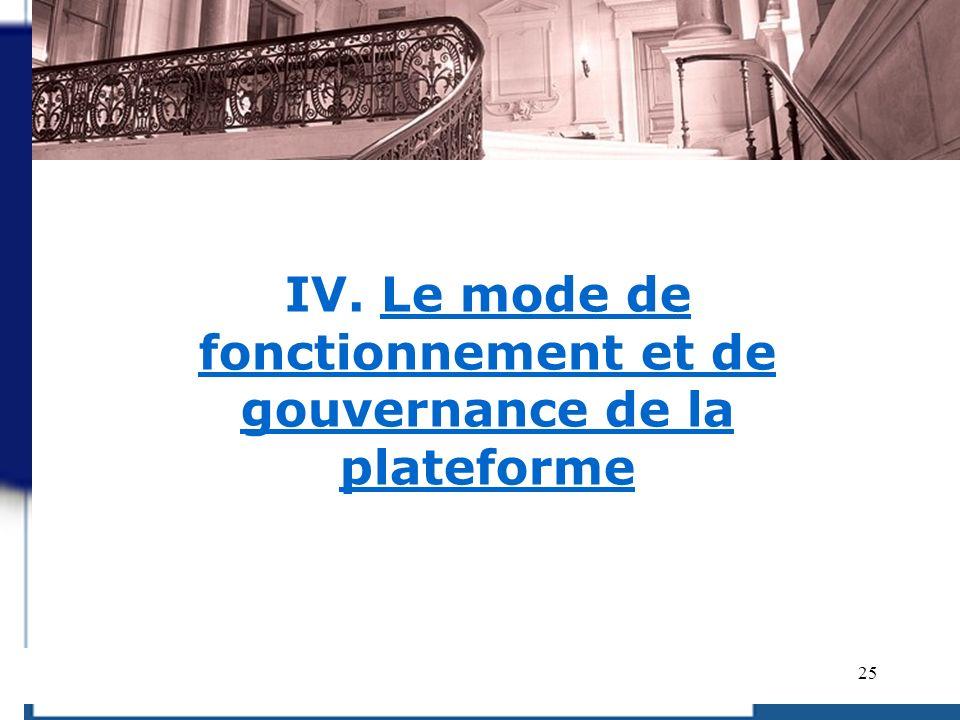 25 IV. Le mode de fonctionnement et de gouvernance de la plateforme