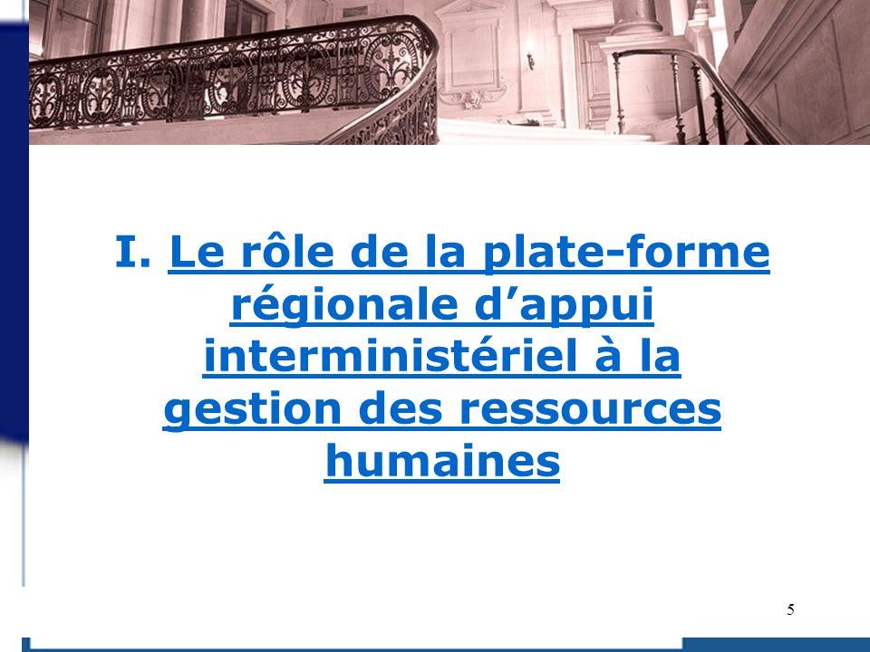5 I. Le rôle de la plate-forme régionale dappui interministériel à la gestion des ressources humaines