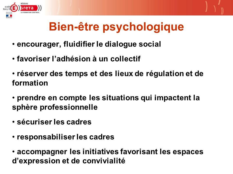 Bien-être psychologique encourager, fluidifier le dialogue social favoriser ladhésion à un collectif réserver des temps et des lieux de régulation et