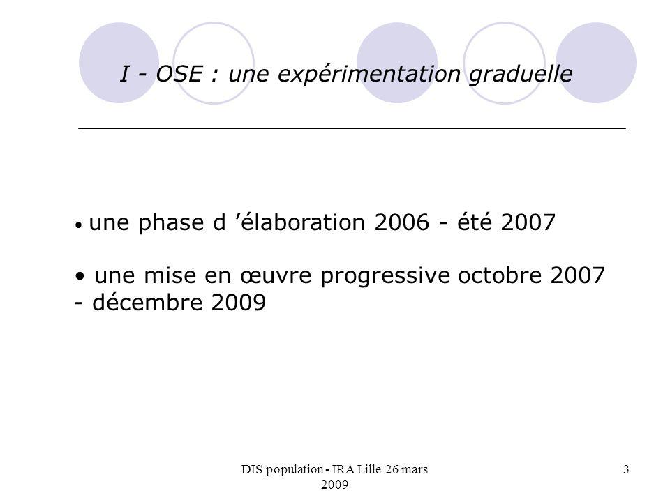 DIS population - IRA Lille 26 mars 2009 3 I - OSE : une expérimentation graduelle une phase d élaboration 2006 - été 2007 une mise en œuvre progressive octobre 2007 - décembre 2009